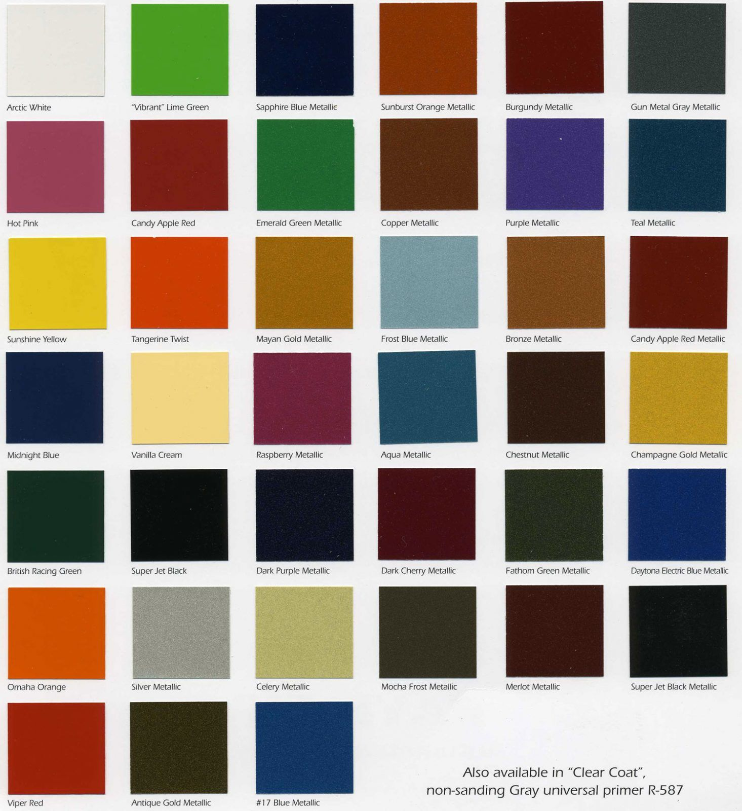 Car Paint Colors >> Starfire Automotive Finishes Color Chip Chart